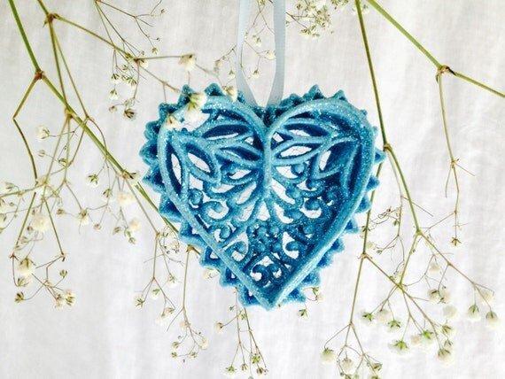 Blue Heart Filigree Sugar Ornament for Weddings, Anniversaries, Christmas, Gift for Her