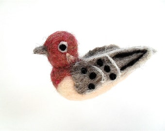 Needle felted bird ornament, Purple house finch