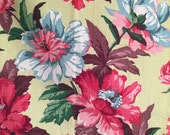 1940s Dramatic Floral Barkcloth Light Lime Background with Large Boldly Colored Flowers of Magenta Pink Blue and Brown