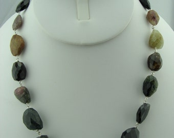 Watermelon Tourmaline Faceted Nugget 925 Sterling Silver Necklace