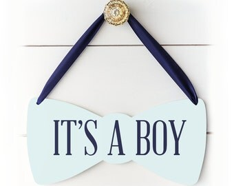 Gender Reveal Decoration, Baby Boy Shower Decoration Sign, Hospital Door Hanger Boy Gift for New Mom, It's a Boy Bow Tie