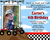 Monster Truck Invitation, Monster Truck Party Invitation, Monster Truck Birthday Invitation, Photo Invitation Digital JPEG File #21