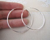 1.75 inches sterling silver endless hoop Earrings, 2mm, SALE