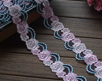 2 Yards Lace Trim Pink Rose Floral Embroidered Tulle Lace 1.96 Inches Wide High Quality