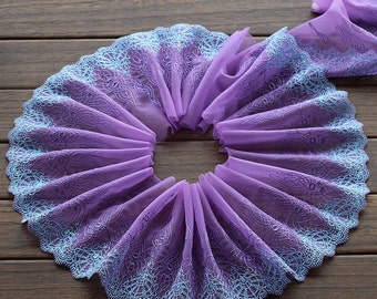 2 Yards Lace Trim Exquisite Flowers Embroidered Purple Tulle Lace 6.29 Inches Wide High Quality