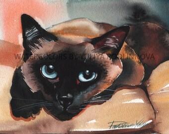 Siamese Cat Printable Art of Original Watercolor Painting Instant Download Picture Digital Print Image Wall Decor Downloadabel Artwork  Cat