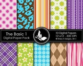 50% Off The Basic 1 Paper Pack - 10 printable Digital Scrapbooking papers - 12 x12 - 300 DPI ////// 1