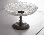 Reserved for Claudia Clear Glass Pedestal /Antique Compote /Cake Stand / Vintage Glass Dessert Pedestal / Cupcake Stand Truffle Pedestal /