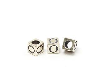 Alphabet Beads Sterling Silver 6mm Alphabet Blocks O - 1pc (3208)/1