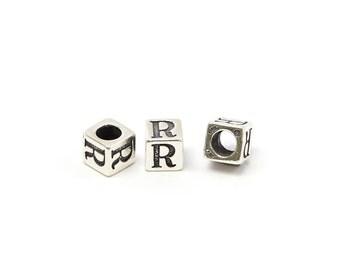 Alphabet Beads Sterling Silver 6mm Alphabet Blocks R - 1pc (3211)/1