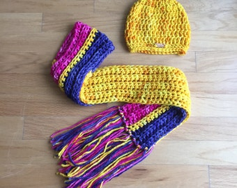 Color Block Hand Dyed Pure Merino Extra Long Fringe Scarf & Hat Set,  Ladies Fashion Accessories