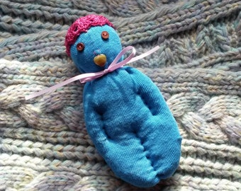 Lavender Sachet OOAK Blue Sock Doll With Fuchsia Hat Brown Eyes Heart Mouth