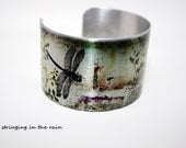 Dragonfly cuff, photo bracelet, silver, nature, woodland, adjustable, free gift box, letter B