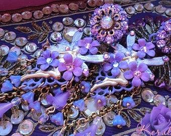 Draped Violet Crystal Fairy Chandelier Earrings, Titania Fantasy Earrings, Lilac Purple, Sparkly Aurora Borealis Swarovski Rhinestones