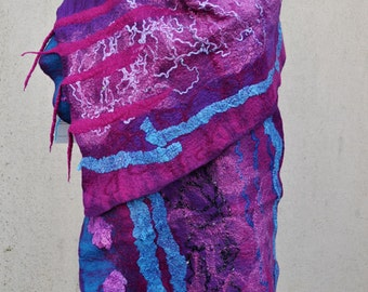 Beautiful shawl, felted scarf, silk, wool, felted, gift, fiber art, turquoise, pink, purple
