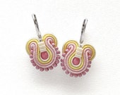 Pink Drop Earrings Pink Earrings Pink and Yellow Earrings Soutache Earrings Smal Dangle Earrings Yellow Drop Earrings Pink Dangle Earrings