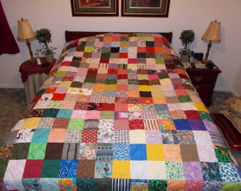 50% Deposit - Custom Made to Order Scrappy Patchwork Quilts ~ 10 Sizes ~ Baby, Lap, Throw, Twin, XL Twin, Full, Queen, King, Cal. King
