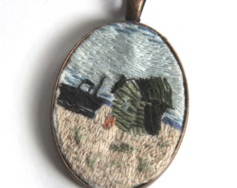 Fisherman's hut, Dungeness embroidered pendant necklace