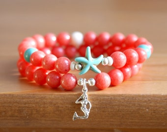 Ocean Gemstone Bracelet, Sea Starfish jewelry, for Beach, Coral Jade, Boho, Bohemian, Sterling silver Mermaid, stretch bracelets set