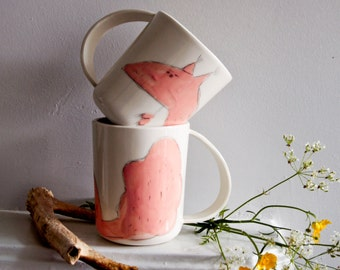 RED SQUIRREL unique drinking mug, white porcelain tea cup, coffee cup with whimsical woodland animall, large handle, quirky gift for men