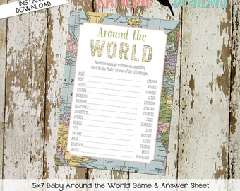 Around the world baby shower game INSTANT DOWNLOAD item 1455 oh the places map world adventure match the language baby translation