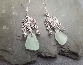 Scottish Sea Glass Earrings, Silver Sun Long Chandelier Earrings, Aqua Beach Glass, Scotland Jewelry