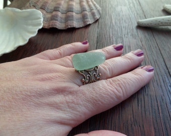 Green Scottish Sea Glass Ring in Copper Finish with Adjustable Band, Rare Bottle Stopper from Scotland