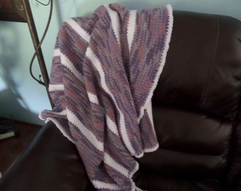 Purple, White and Grey Striped Crochet Lap Blanket, Charity Donation, Baby Shower Gift, Child's Blanket, Lap Robe