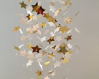 Star mobile - metallic gold and white /nursery mobile/room decor/photo prop