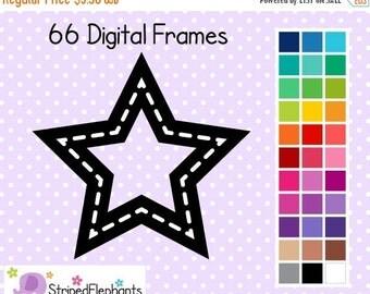 50% OFF SALE Stitched Star Digital Frames - Clip Art Frames - Instant Download - Commercial Use