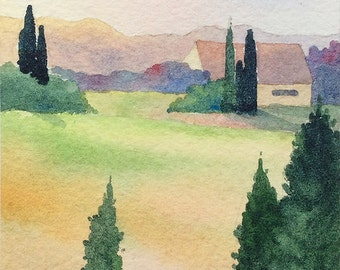 Original Painting ACEO watercolor - Tuscan villa