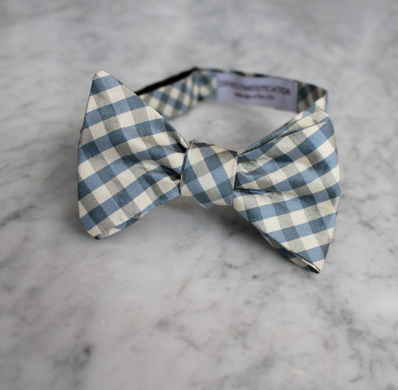 Blue and Gray Plaid Silk Bow Tie - Clip on, pre-tied with strap or self tying