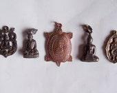 5 LARGE Rare Thai Buddhist Buddha Buddhism Lucky Charms Amulets Pendants Set Blessed Brass Medallions