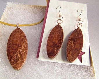 Wood Anniversary Jewelry SHIPS IMMEDIATELY Handmade Leather and Desert Ironwood Necklace Earrings