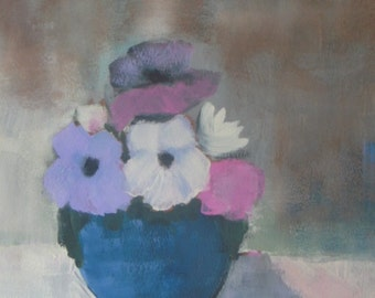 "Mixed flowers in blue vase Acrylic Painting - floral abstract - still life painting - 9""x12"" - gift for her"