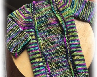 Undercity Vertebrae Cardigan on Licorice Twist Merino Wool - Size 3-6 Months - FOR THE HORDE!
