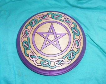 Wooden pentacle- celtic knot design, pink/green/purple