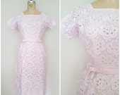 25% OFF SALE Vintage 1960s L'Aiglon Dress / Pink Cut-Out Cotton Wiggle Dress / Double Bow Belt / Xs
