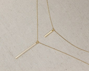 Vertical Bar Necklace, Minimalist, Layering, You Choose Color, Gift for Her, Stick Necklace, Geometric