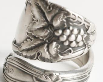 Grape Vine Ring, Antique Spoon Ring Sterling Silver, Grape Leaves, Wine Gifts, Grapes of Wrath, Custom Ring Size, International Cloeta, 6144