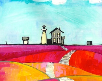 Light House 9 x 12 original acrylic painting, Cape cod Landscape, painting of Massachusetts, landscape painting