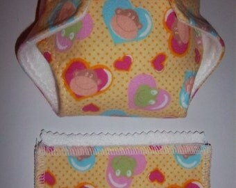 Baby Doll Diaper/wipes - cute heart animal portraits - See Shop Special - adjustable for many dolls such as bitty baby