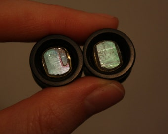 "5/8"" Angel Aura Quartz Specimen and Brass Inlay Plugs"