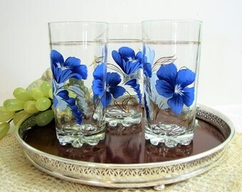 MCM DeValBor Italy Gold Accented Blue Floral Highball Glasses, Tumblers, Set of 3,  Vintage Barware ... it's Ladies Night