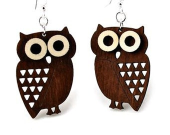 Owls - Little Hoot wood earrings