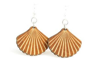 Wood Shell Earrings - Laser Cut Reforested Wood