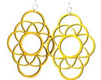 Large circleapolics  - Wood Earrings