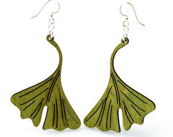 Ginkgo Leaf - Wood Earrings