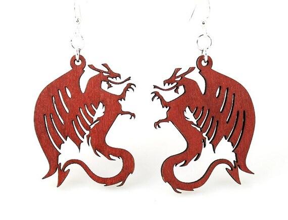 Dragons - Laser cut Wooden Earrings