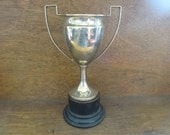 Vintage English E.P.N.S. Silver Plated Wooden Based Engraved Trophy Cup Rugby Wolverhampton Award Prize Trophies circa 1940 / English Shop